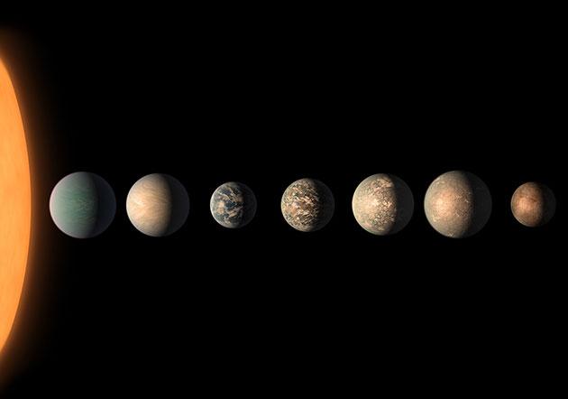 Künstlerische Darstellung der sieben Planeten um den sonnennahen Stern TRAPPIST-1. Basierend auf den bislang zu diesem Planetensyste vorhandenen Daten könnte auf mindestens drei dieser Planeten flüssiges Wasser - und damit die Grundlage zumindest des irdischen Lebens – existieren (Illu.). Copyright: NASA/JPL-Caltech
