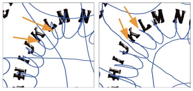 """Das Muster des Bewegungsverlaufs der Planchette bei absichtlicher Ansteuerung des Alphabets durch zwei Sitzer (siehe Abb. l.) und das Muster während einer """"echten"""" Sitzung (r.). Copyright: E. Kruse"""