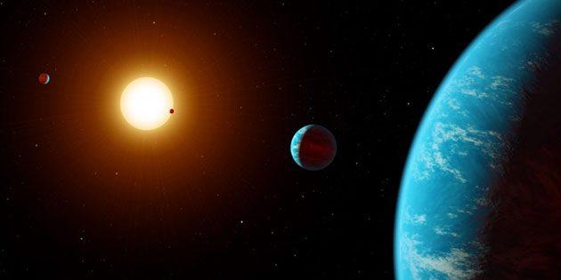 Künstlerische Darstellung eines Planetensystem um einen Roten Zwergstern (Illu.). Copyright: NASA (bearb. durch grewi.de)