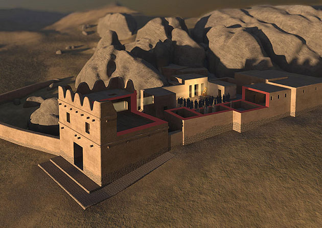 Die 3D-Visualisierung der Bauwerke II und III (Torhaus) in Yazılıkaya zeigt, wie das Objekt auf dem Podest im Hof der Tempel während eines Festivals am Tag der Sommersonnenwende im Jahr 1250 v. Chr. von natürlichen Sonnenstrahlen erfasst wurde. Copyright: Oliver Bruderer / Luwian Studies