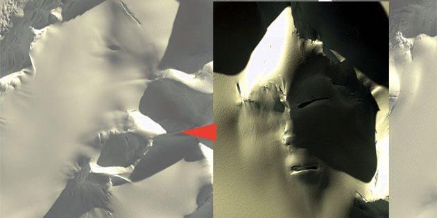 Satellitenaufnahme des gesichtsartigen Geländestruktur in der Antarktis mit um 180 Grad gedrehter Ausschnittsvergrößerung. Quelle: GoogleEarth