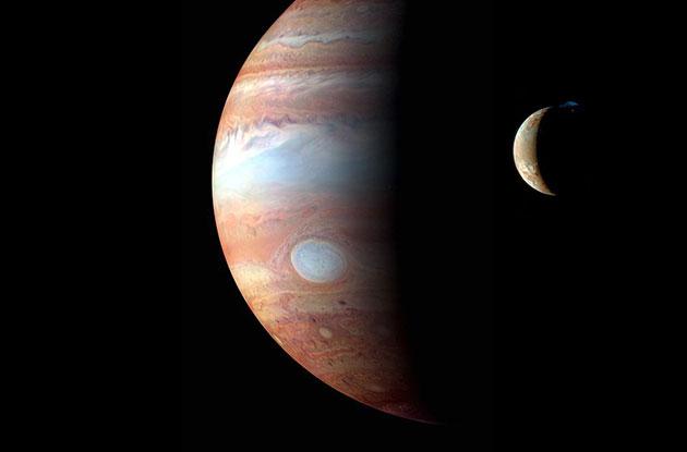 Blick ins Jupitersystem. Copyright: NASA