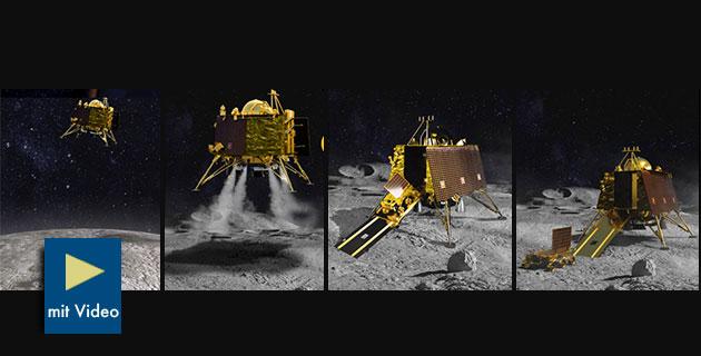 """Grafische Darstellung der Landung des indischen Landers """"Vikram"""" und Mond-Rovers """"Pragyan"""" am Mond-Südpol (Illu.). Copyright: ISRO"""