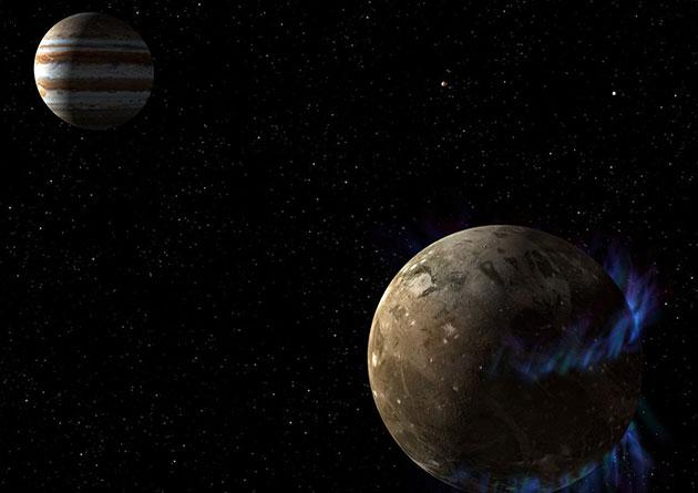 In dieser Grafik umkreist der Mond Ganymed den Riesenplaneten Jupiter (Illu.). Copyright: NASA / ESA
