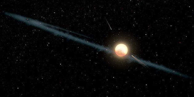 Künstlerische Darstellung einer Gas- Staub- und Trümmerscheibe um den sonnenähnlichen Stern KIC 8462852 (Illu.). Copyright: NASA/JPL-Caltech