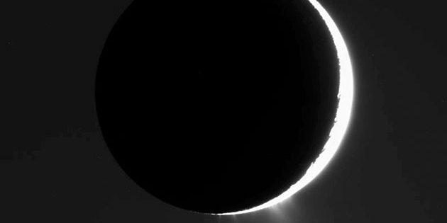 Cassini-Aufnahme des Saturnmondes Enceladus von 2007. Im Gegenlicht werden die Eisfontänen am Südpol des Mondes sichtbar. Copyright: NASA/JPL/Space Science Institute
