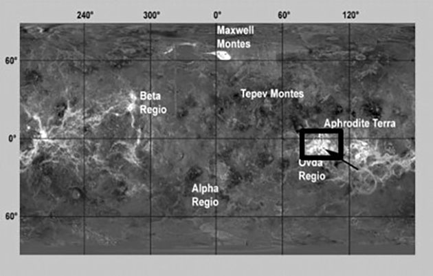 Radaraufnahme der Venusoberfläche durch die Magellan-Sonde mit dem Ovda-Fluctus-Lavafluss, aufgenommen von der Magellan-Sonde. Copyright: NASA