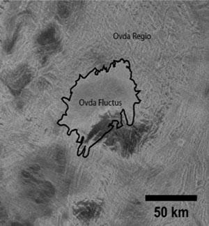 Nahaufnahme der Radaraufnahme des Ovda-Regio-Lavaflusses auf der Venus. Copyright: NASA