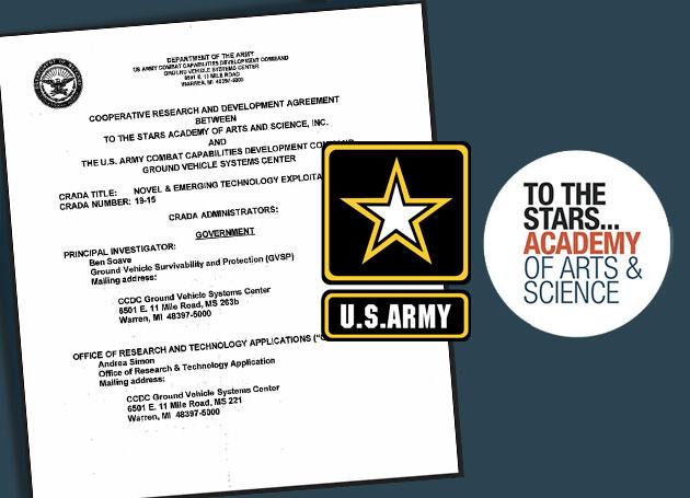 """Symbolbild: Die Logos der """"To The Stars Academy"""" und der """"U.S. Army"""" vor dem Hintergrund des gemeinsamen Kooperationsvertrages. Copyright/Quellen: ToTheStarsAcademy / US Army"""