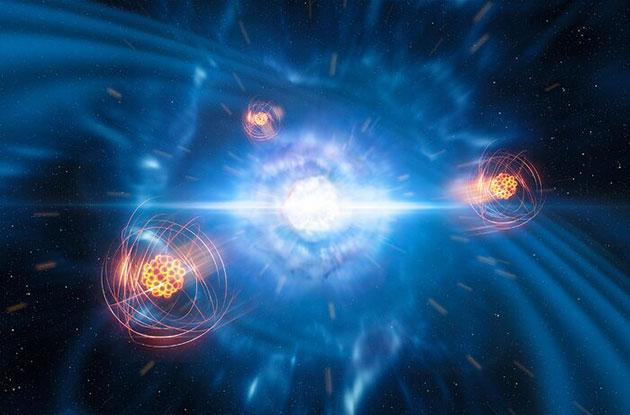 Künstlerische Darstellung zweier winzige miteinander kollidierende Neutronensterne die in einer sog. Kilonova verschmelzen. Im Vordergrund ist eine grafische Darstellung von frisch gebildetem Strontium zu sehen (Illu.). Copyright: ESO/L. Calçada/M. Kornmesser