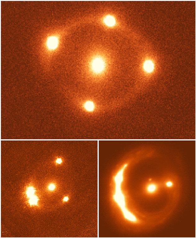 Die drei Untersuchten Gravitationslinsen Copyright: G. Chen, C. Fassnacht, UC Davis