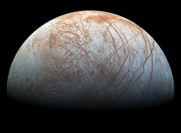 Galileo-Aufnahe des Jupitermondes Europa. Copyright: NASA/JPL-Caltech/SETI Institute
