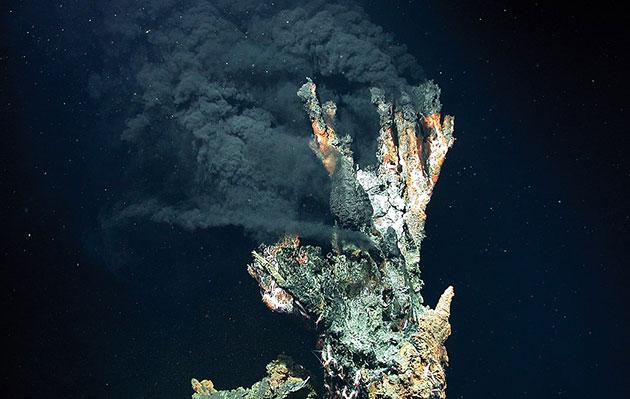 """Der sog. schwarze Raucher """"Kandelabra"""" in 3.300 Meter Wassertiefe im Logatchev Hydrothermalfeld am Mittelatlantischen Rücken. Copyright: Marum/Universität Bremen (via WikimediaCommons), CC BY-SA 4-0"""