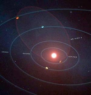 Die elliptische Umlaufbahn des wilden Gasriesen übertragen auf unser eigenes Sonnensystem (Illu.). Copyright: W. M. Keck Observatory/Adam Makarenko