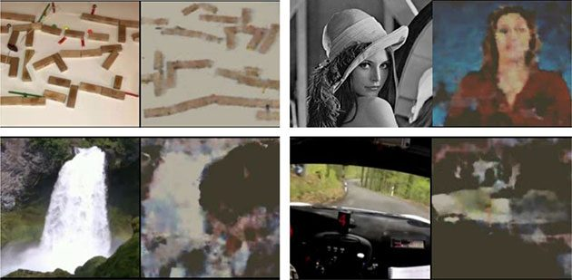 Ein Vergleich der jeweils visuellen Bildvorgabe (l.) mit dem anhand der EEG-Daten rekonstruierten Bild (r.). Im Falle des Gesichts musste die in den Experimenten verwendete Originalvorlage gegen ein Symbolbild ausgetauscht werden (siehe Video). Copyright/Quelle: Rashkov, Bobe, Fastovets u. Komarova / bioRxiv.org, 2019