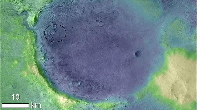 """Höhenkarte des Landeorts des Rovers der NASA-Mission """"Mars 2020"""" (Kreis) im Jezero-Krater. Copyright: NASA"""