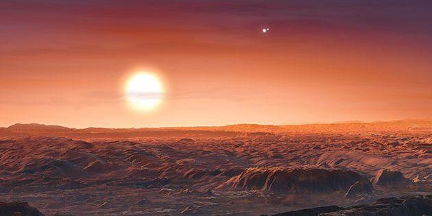 """Planet dreier Sterne: Künstlerischer Blick an den Himmel des Exoplaneten """"Proxima Centauri b"""" im Dreifachsternsystem Alpha Centauri (Illu.). Copyright: ESO/M. Kornmesser"""