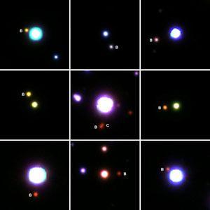 Eine Auswahl der Planetenmuttersterne mit stellaren Begleitern (B, C), die im Rahmen des Projekts gefunden wurden. Auf dem Bild in der Mitte ist zudem ein hierarchisches Dreifachsternsystem zu erkennen. Klicken Sie auf die Bildmitte, um zu einer vergrößerten Darstellung zu gelangen. Copyright: Mugrauer, PanSTARRS