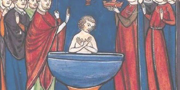 """Die Taufe Chlodwigs I. gilt als ein Schlüsselereignis der Christianisierung Europas; hier dargestellt auf einer Miniatur aus der """"Vie de saint Denis"""" (um 1250), die sich heute in der Bibliothèque nationale de France befindet. Copyright: Gemienfrei"""