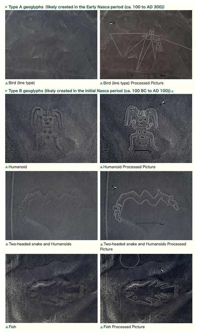 Weitere Beispiele der neue entdeckten Geoglyphen in der Pampa von Nazca. Copyright: Yamagata University / IBM