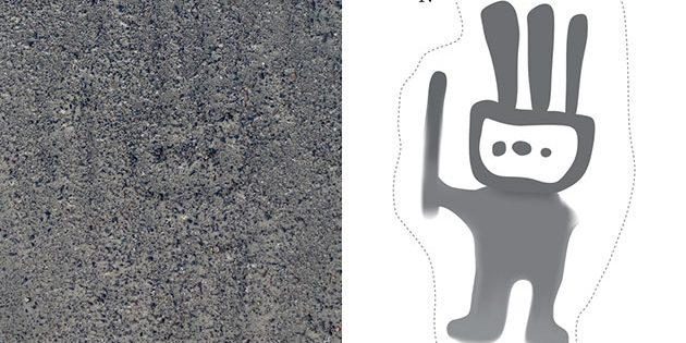 Eine Darstellung einer humanoiden Figur als Bodenbild in der Pampa von Nazca. Copyright: Yamagata University / IBM