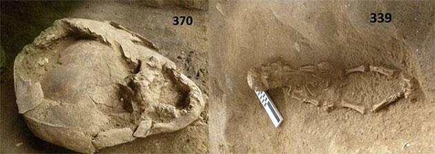 Weitere Ansicht eines der mit einem fremden Schädel behelmten Kleinkindskelette von Salango. Copyright: Sara Juengst