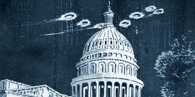 Zeitgenössische Comic-Darstellung von UFO-Sichtungen über Washington 1952 (Illu.). Copyright/Quelle: National Archives, Records of Headquarters US Air Force (Air Staff).