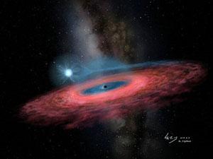 Künstlerische Darstellung eines Schwarzen Lochs, das Gase eines Begleitsterns anzieht und um sich zu einer Akkretionsscheibe formt (Illu.). Copyright: YU Jingchuan, Beijing Planetarium, 2019.