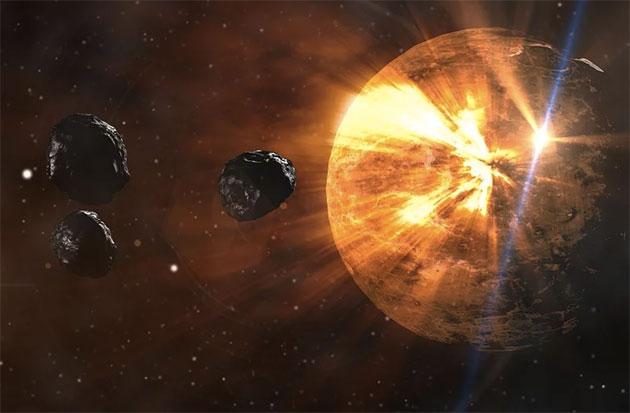 Künstlerische Darstellung kosmische Einschläge während der Erdurzeit (Illu.). Copyright: TBIT (via Pixabay.com) / Pixabay License
