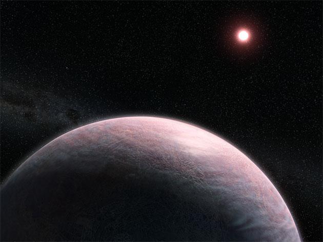 Künstlerische Darstellung eines von einer wolkigen Atmosphäre bedeckten Felsplaneten, der einen roten Zwergstern umkreist (Illu.). Copyright: L. Hustak and J. Olmsted (STScI)