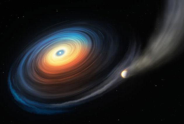 """Künstlerische Darstellung des Weißen Zwerg """"WDJ0914+1914"""" und des ihm umkreisen Neptun-ähnlichen Exoplaneten. Da der eisige Riese den heißen Weißen Zwerg in geringer Entfernung umkreist, streift die extreme ultraviolette Strahlung des Sterns die Atmosphäre des Planeten ab. Während das meiste dieses abgetragenen Gases entweicht, wirbelt ein Teil davon auf eine Scheibe, die ihrerseits auf den Weißen Zwerg strömt. Copyright: ESO/M. Kornmesser"""