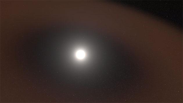 Die PSP sah kosmischen Staub (hier grafisch abgebildet), der in unserem Sonnensystem verstreut ist und sich in der Nähe der Sonne auszudünnen beginnt, was die Idee einer lang theoretisierten staubfreien Zone in der Nähe der Sonne bestätigt (Illu.). Copyright: Goddard Space Flight Center der NASA / Scott Wiessinger