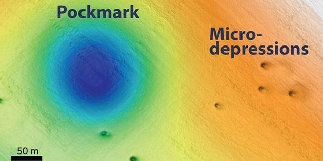 """Dieser Bildausschnitt eines Scans des Meeresbodens vor der kalifornischen Küste. Darin eingebettet große Pockmarks und kleine """"Micro-Depressions"""". Copyright: MRABI"""