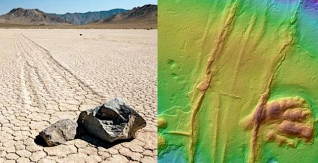 Vergleich der Merkmale heutiger, auf Eiskeilen wandernder bzw. gleitender Steine im Death Valley und der Spur im für seine Dinosaurierabdrücke bekannten Sandsteinblock. Copyright/Quelle: Olsen et al./Columbia University/LDEO)