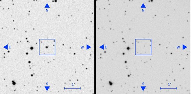 Auf der Aufnahme von 1950 zeigt einen Stern (l.), der auf aktuellen Aufnahmen (r.) nicht (mehr) zu sehen ist. Copyright: Villarroel et.al