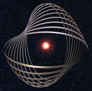 Künstlerische Darstellung einer Dyson- bzw. Pokrovsky-Konstruktion um einen Stern (Illu.) Copyright: via WikimediaCommons / CC BY-SA 4.0