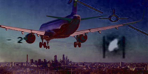 Symbolbild: Zivilmaschine und Flugsicherheit orten UFO (Illu.). Copyright/Quelle: TheBlackVault.com