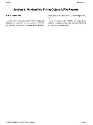 """Die Verordnung """"JO 7110.65Y"""" der FAA zu UFO-Sichtungen durch zivile Melder. Klicken Sie auf die Bildmitte, um zu einer vergrößerten Darstellung zu gelangen. Copyright: FAA"""