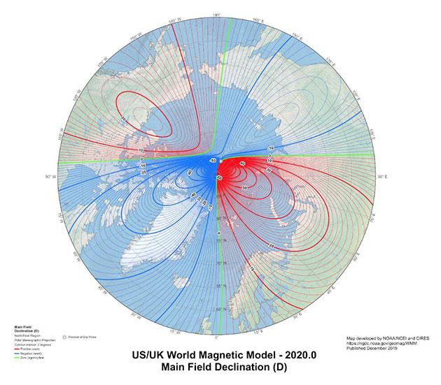 Die WMM2020-Karte in einer nordpolaren Projektion. Copyright: NOAA NCEI/CIRES