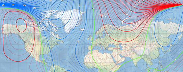 Die aktuelle MM2020-Karte des Erdmagnetfeldes. Copyright: NOAA NCEI/CIRES