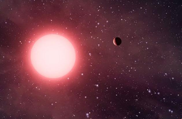 Künstlerische Darstellung eines Planetensystems um einen roten Zwergstern (Illu.). Copyright: NASA