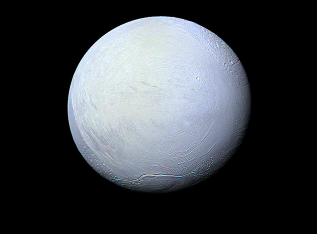 Der Saturnmond Enceladus, fotografiert von der NASA-Sonde Cassini, 2012. Copyright: NASA/JPL-Caltech/Space Science Institute