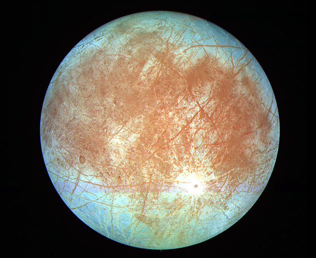 Der Jupitermond Europa. Copyright: NASA/JPL/Processed by Kevin M. Gill