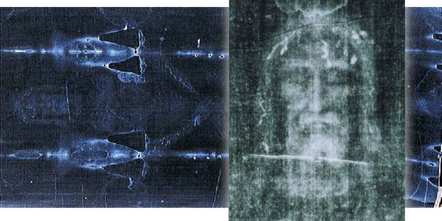 Das Turiner Grabtuch im Negativ mit Vergrößerung der Gesichtspartie. Copyright: Kollage: grewi.de mit Materialien von: 1978 Barrie M. Schwortz Collection, STERA, Inc.