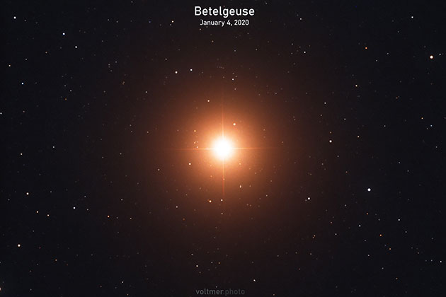 Eine der aktuellsten Teleskopaufnahmen des Riesensterns Beteigeuze, erstellt vom Astrofotografen Sebastian Voltmer am 4. Januar 2020. Copyright: Sebastian Voltmer, www.weltraum.com