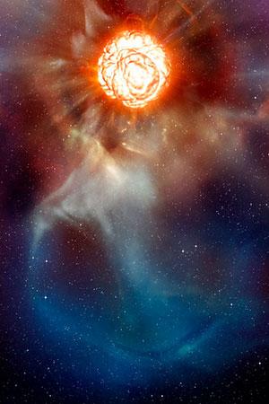 Diese künstlerische Darstellung (Illu.) zeigt den Überriesen Beteigeuze so wie man ihn sich nach den Daten von verschiedenen Beobachtungstechniken mit dem Very Large Telescope (VLT) der ESO vorstellen muss. Copyright: ESO/L. Calçada