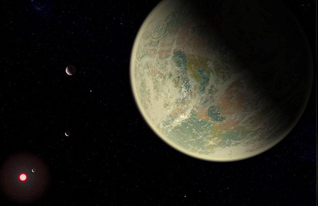 Künstlerische Darstellung eines wasserreichen Exoplaneten mit sauerstoffreicher Atmosphäre (Illu.). Copyright: NASA / GSFC / Friedlander-Griswold