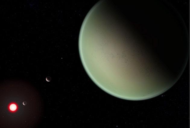 Künstlerische Darstellung eines trockenen Exoplaneten mit sauerstoffreicher Atmosphäre (Illu.). Copyright: NASA / GSFC / Friedlander-Griswold