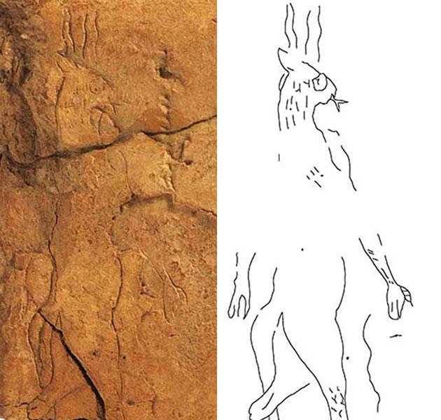 Die Zeichnung des assyrischen Dämons Bennu auf der Tontafel und im grafischen Übertrag. Copyright: Troels Pank Arboell / JMC 33, pp. 1-31 (Grafik) / Olaf M. Tessmer / Vorderasiatisches Museum Berlin (Foto)