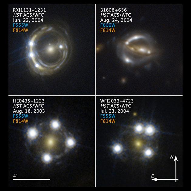 Zur Messung der Hubble-Konstante wurden Aufnahmen des Hubble-Weltraumteleskops verwendet, die weit entfernte Quasare zeigen, deren Licht von Vordergrundgalaxien umgelenkt wird. Copyright/Quelle: S. H. Suyu / TUM / MPA, K. C. Wong / Univ. Tokio; NASA; ESA